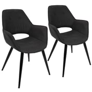 Lumisource Mustang Accent Chair in Black Fabric with Black Metal Legs - Set of 2 (CH-MSTNG BK2)