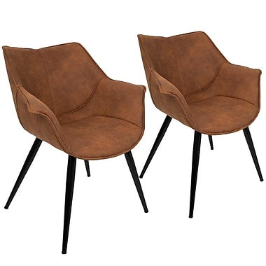 Lumisource Wrangler Accent Chair in Rust Fabric with Black Metal Legs