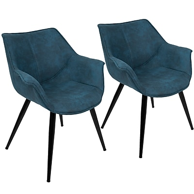 Lumisource Wrangler Accent Chair in Blue Fabric with Black Metal Legs, Set of 2 (CH-WRNG BU2)