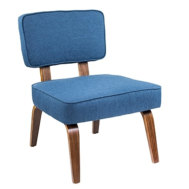 Lumisource Nuncio Mid-Century Accent Chair in Navy Blue Woven Fabric (CH-NNZ NB)