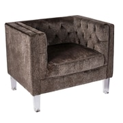 Lumisource Valine Tufted Back Accent Chair in Brown Mohair Fabric (CH-VALTINA BN)