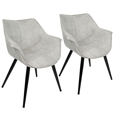 Lumisource Wrangler Accent Chair in Light Grey Fabric with Black Metal Legs, Set of 2 (CH-WRNG LGY2)