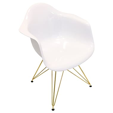 Lumisource Neo Flair Mid-Century Modern Chair in White with Gold Legs (CH-NFLABS W+CU)