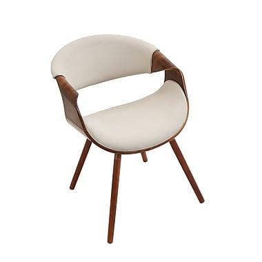 Lumisource Curvo Mid-Century Modern Walnut Chair with Cream Fabric Seat (CH-CURVO WL+CR)