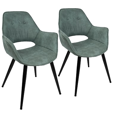 Lumisource Mustang Accent Chair in Teal Fabric with Black Metal Legs - Set of 2 (CH-MSTNG TL2)