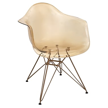 Lumisource Neo Flair Mid-Century Modern Chair in Amber with Copper Legs (CH-NFLPC AM+CU)