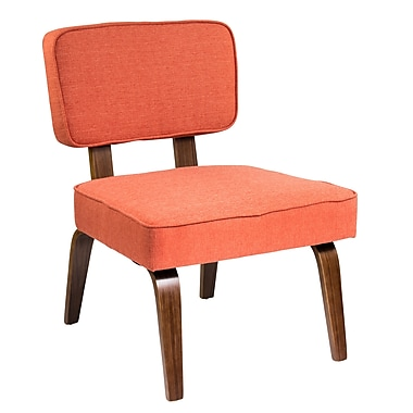 Lumisource Nuncio Mid-Century Accent Chair in Deep Orange Woven Fabric (CH-NNZ O)