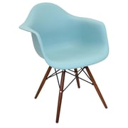 Lumisource Neo Flair Mid-Century Modern Chairs in Sea Green with Espresso Legs - Set of 2 (CH-NFLPP GN+E2)