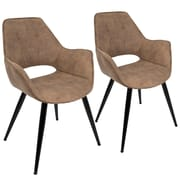 Lumisource Mustang Accent Chair in Brown Fabric with Black Metal Legs - Set of 2 (CH-MSTNG BN2)