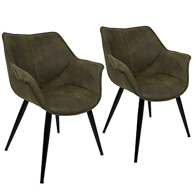 Lumisource Wrangler Accent Chair in Green Fabric with Black Metal Legs, Set of 2 (CH-WRNG GN2)