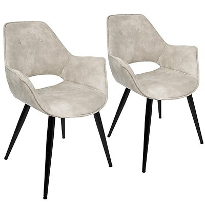 Lumisource Mustang Accent Chair in Beige Fabric with Black Metal Legs - Set of 2 (CH-MSTNG BG2)