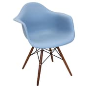 Lumisource Neo Flair Mid-Century Modern Chairs in Blue Slate with Espresso Legs - Set of 2 (CH-NFLPP BU+E2)
