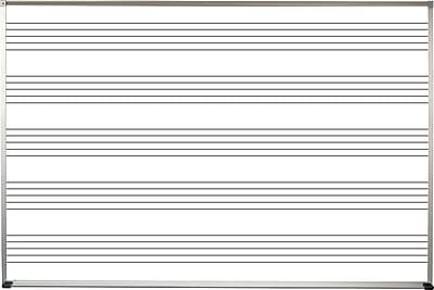 Best-Rite Porcelain Steel Deluxe Aluminum Trim 4' x 8' Porcelain Steel Dry Erase Music Line Whiteboard (202AH-S1)