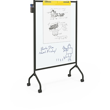 Best-Rite Magnetic Black Mobile Whiteboard, 71.75