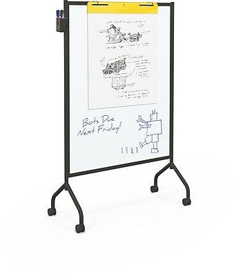 Best-Rite Magnetic Black Mobile Whiteboard, 71.75