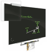 """Best-Rite Visionary Magnetic Glass Dry Erase Whiteboard with Exo Tray System, 35.43"""" x 47.24"""", Black (84062-1X576)"""