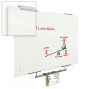 """Best-Rite  Visionary Magnetic Glass Dry Erase Whiteboard with Exo Tray System, 35.43"""" x 47.24"""", White (83844-1X576)"""
