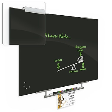 Best-Rite Visionary Magnetic Glass Dry Erase Whiteboard with Exo Tray System, 23.62