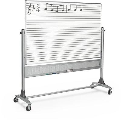 Best-Rite Dual Sided Music Line Platinum Reversible 4' x 8' Mobile Whiteboard (669RH-MM)