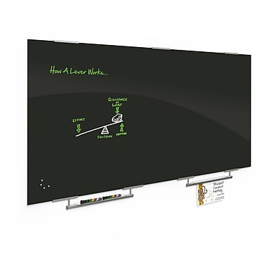 Best-Rite Black Visionary Magnetic Glass Dry Erase Whiteboard with Exo Tray System, 47.24
