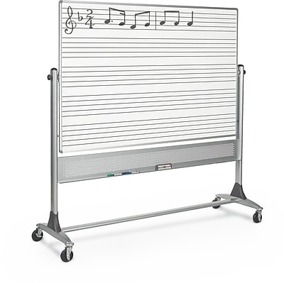Best-Rite Music Line Platinum Reversible 4' x 6' Mobile Whiteboard (669RG-DM)