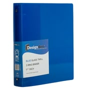 "JAM Paper Heavy Duty 1.5"" 3-Ring Flexible Poly Binder, Blue Glass Twill (762T15BU)"