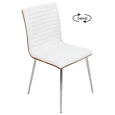 Lumisource Mason Chair with Swivel Feature in Light White Faux Leather and Stainless Steel Frame, Set of 2 (CH-MSNSWV W2)