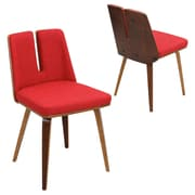 Lumisource Varzi Dining Chair in Red woven Fabric with Walnut Wood Frame and Legs (CH-VRZI WL+R)