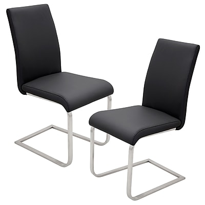 Lumisource Foster Dining Chair in Black Faux Leather with Brushed Stainless Steel Base, Set of 2 (DC-FSTR BK2)