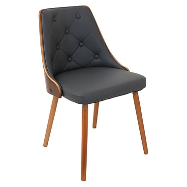 Lumisource Gianna Dining Chair in Grey Fabric with Walnut Wood Frame and Legs (CH-JY-GNN WL+GY)