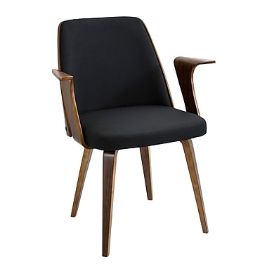 Lumisource Verdana Accent Chair in Black Woven Fabric with Walnut Wood Frame & Legs (CH-VRDNA WL+BK)