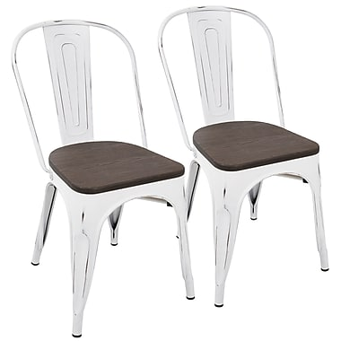 Lumisource Oregon Dining Chair with Dark Espresso Wooden Seat and Distressed Vintage White Metal Frame, Set of 2 (DC-OR VW+E2)