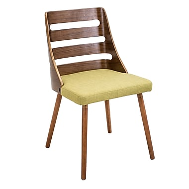 Trevi Mid-Century Modern Dining Chair by LumiSource, Green Woven Fabric, Walnut Wood Frame (CHR-TRV WL+GN)