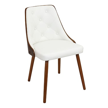 Lumisource Gianna Dining Chair in White Fabric with Walnut Wood Frame and Legs (CH-JY-GNN WL+W)