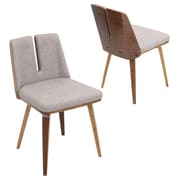 Lumisource Varzi Dining Chair in Taupe woven Fabric with Walnut Wood Frame and Legs (CH-VRZI WL+TP)