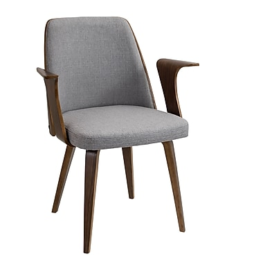Lumisource Verdana Accent Chair in Grey Woven Fabric with Walnut Wood Frame & Legs (CH-VRDNAWL+GY)