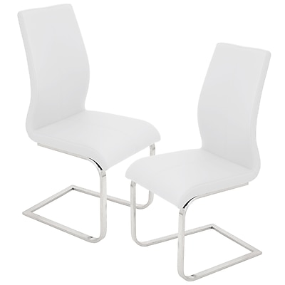 Lumisource Foster Dining Chair in White Faux Leather with Brushed Stainless Steel Base, Set of 2 (DC-FSTR W2)