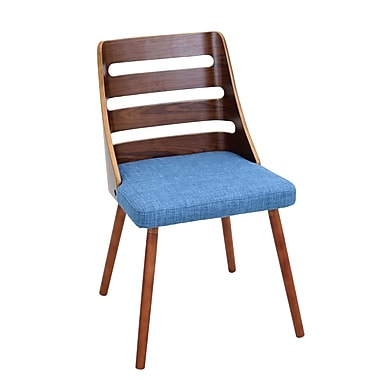 Trevi Mid Century Modern Dining Chair with Walnut Wood Frame and Blue Woven Fabric (CH-TRV WL+BU)