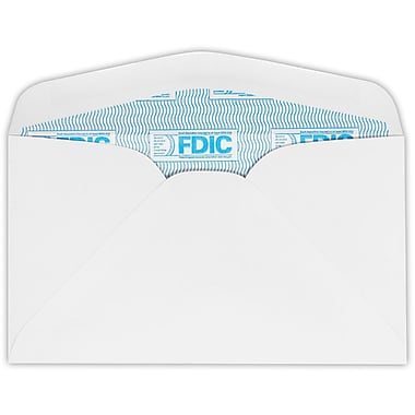 LUX #6 3/4 Regular Envelopes (3 5/8 x 6 1/2) 50/Pack, 24lb. White w/ FDIC Sec. Tint (634-FDIC-50)