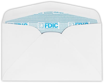 LUX #6 3/4 Regular Envelopes (3 5/8 x 6 1/2) 50/Pack, 24lb. White w/ FDIC Sec. Tint (634-FDIC-50)