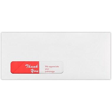 LUX #10 Spot-Lite Window Envelopes(4 1/8 x 9 1/2) 250/Pack, White w/ Red Thank You Imprint (WS-3304-250)