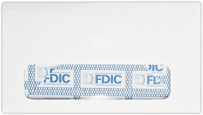 LUX #6 3/4 Window Envelopes (3 5/8 x 6 1/2) 1000/Pack, 24lb. Bright White w/ FDIC Sec. Tint (634W-FDIC-1000)