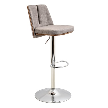 LumiSource Varzi Height Adjustable Mid Century Modern Barstool with Swivel in Walnut and Taupe (BS-VRZI WL+TP)