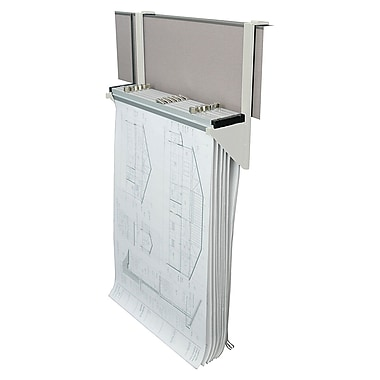 AdirOffice White Cubicle Rack For Blueprints Hanging Clamps Plans, Posters (618-WHI)