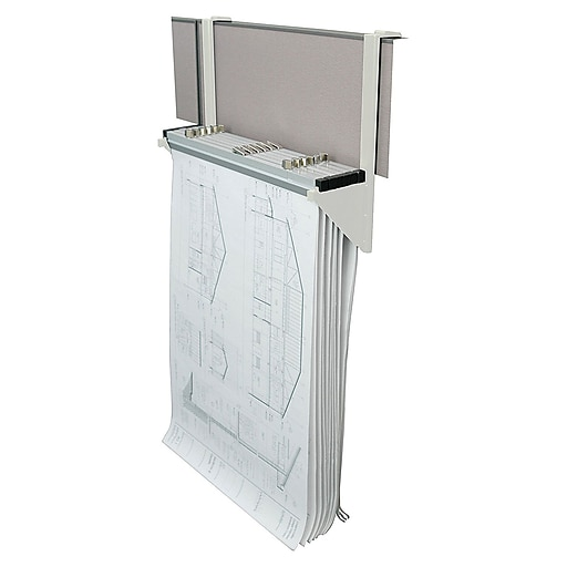 Adiroffice white cubicle rack for blueprints hanging clamps plans httpsstaples 3ps7is malvernweather Choice Image