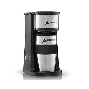 AdirChef Grab N' Go Personal Coffee Maker with 15 oz. Travel Mug, Black/Stainless Steel (800-01-BLK)