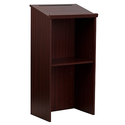 AdirOffice Mahogany Stand up, Floor-standing Podium, Lectern with Adjustable Shelf and Pen/Pencil Tray (661-01)