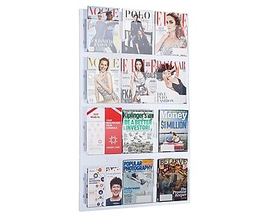 AdirOffice Hanging Magazine Rack with Adjustable Pockets 29 x 48 inches (640-2948-CLR)