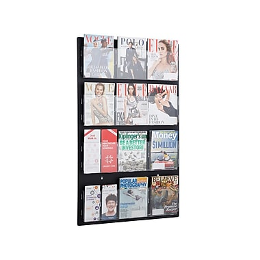 AdirOffice Hanging Magazine Rack with Adjustable Pockets 29 x 48 inches, Black (640-2948-BLK)