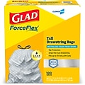 Glad ForceFlex 13 Gallon Tall Kitchen Trash Bags with Odor Control, .72 mil., White, 100 Bags/Box (70427)